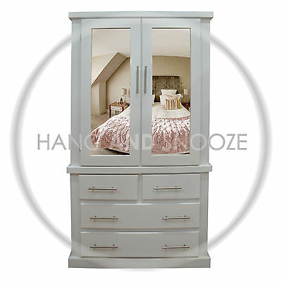 Handmade Dewsbury 2+2 Drawer Wardrobe White T Bar Handles (Assembled)