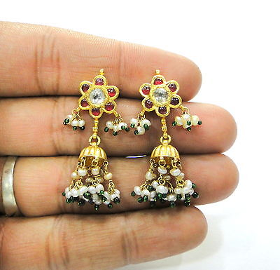 Vintage antique handmade solid 20K Gold jewelry Diamond polki ruby pearl earring