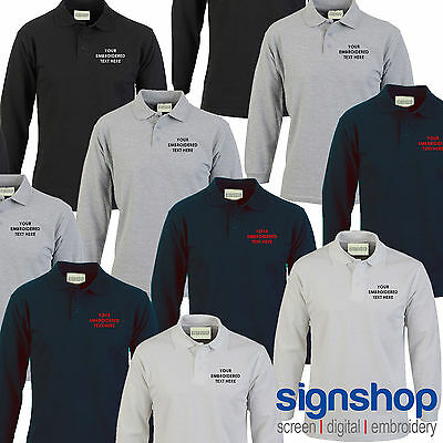 Custom Embroidered Long Sleeve Polo Shirt Personalised with your Text - SS218