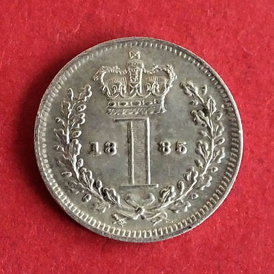 1885 Queen Victoria Silver Maundy 1 Pence
