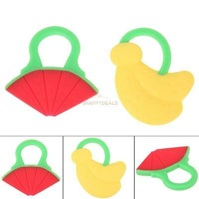 Soft Silicone Baby Teether Fruit Shape Toothbrush Toddler Chewing Toy Massager