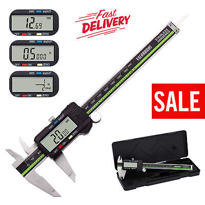 Digital Electronic Caliper Vernier Micrometer Measuring Inch Metric Fraction New