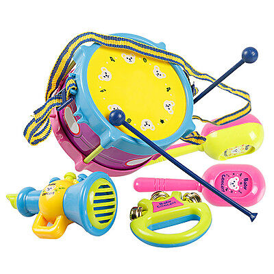5 x New Baby Infant Toddler Kids Drum Rattles Developmental Educational Toy Set