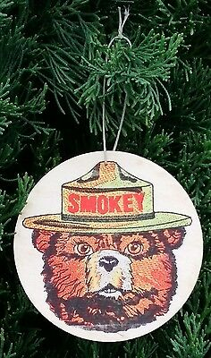 Set Of 3 Smokey Bear Wood Ornaments* U.s. Made Forest Service Christmas