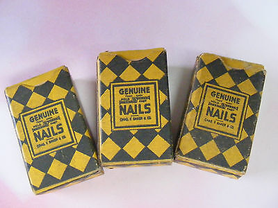 3 Boxes Vintage Genuine Hold Fast 16 Nails 5 - 8  (1Box part Full, 2 are full)