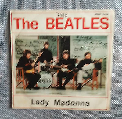 """The Beatles -Lady Madonna -7"""" Parlophon Qmsp 16423 Italy  1968 First Press"""