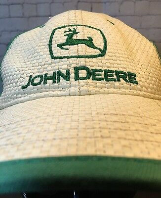 *RARE* John Deere HAT WOVEN STRAW MESH Cap, Adjustable Green Tractor Trucker