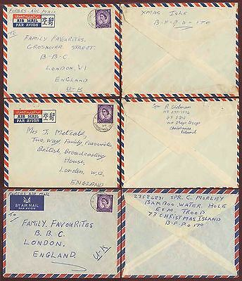 GB 1958-59 FORCES AIRMAIL CHRISTMAS ISLAND 3 COVERS 3d WILDINGS