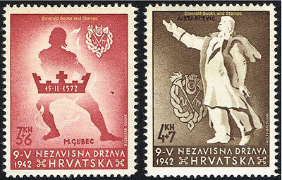 "EBS Croatia Hrvatska NDH 1942 ""Victims of Senj"" set Michel No 91-92 MNH**"
