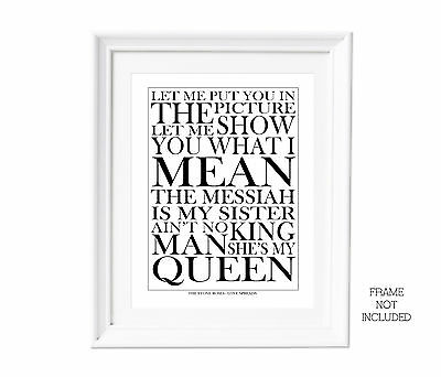Song Lyrics Stone Roses Love Spreads  Wall Art Typography Poster Print