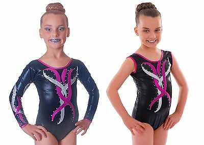 Deluxe Metallic Black with Pink & Silver Flame Gymnastic Gym Dance Show Leotard