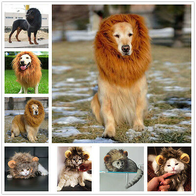 New Pet Dog Cat Costume Lion Mane Wig For Halloween Clothes Fancy Dress Up