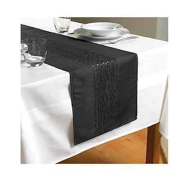 "Black Embroidered Taffeta Table Runner 70"" x 13"" (180cms x 33cms)"