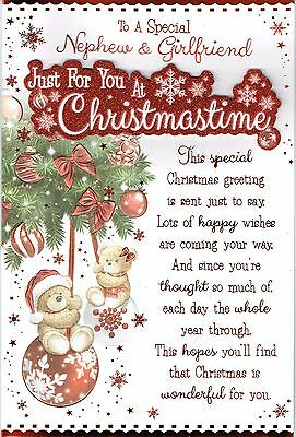 Special NEPHEW AND GIRLFRIEND Quality Christmas Card Bears on Baubles Design