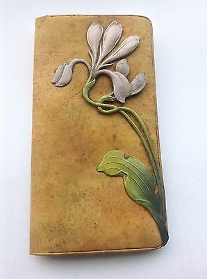 Mucha ? Art Nouveau Soft Leather Silk Lining, Applied Metal Enamel Flower Wallet