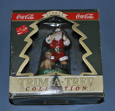 Coca Cola Coke Christmas 1992 Ornament Shhh Santa with Dog