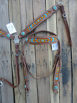 Western Headstall Breastcollar Turquoise Blue Show Tooled Leather Horse Bridle