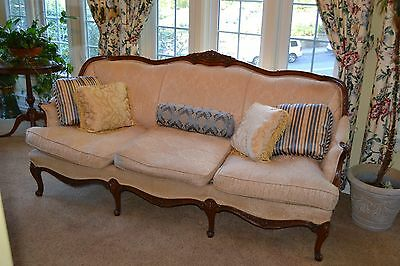 Vintage Bergere French Country Style Walnut Sofa Couch, floral wood carved