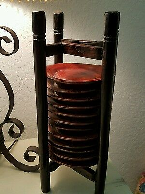 Antique Large Old Oriental Wood Holder With 12 Wooden Plates