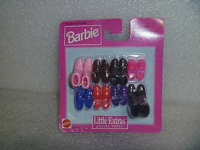 """Barbie Shoes - Little Extras """"Casual Shoes """" """"NEW"""" By Mattel MIP 6 Pairs 2 Boots"""
