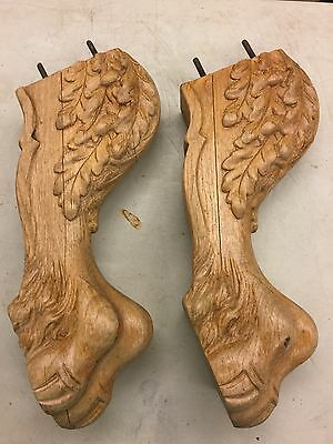 Set 2 Highly Carved Oak Claw Feet  Table Legs Salvage SA42b