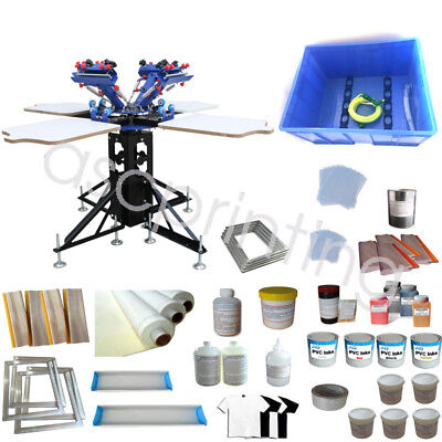 4 Color 4 Station Screen Printing Kit Print Materials &Floor Type DIY Printer