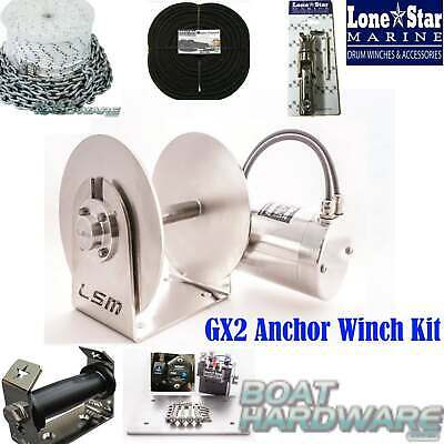 GX2 Lone Star Anchor Winch COMBO KIT 1000W Electric 250mm Drum up to 8mtr Boats