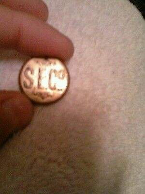 "Antique 1800's Metal Button~""S.E.C.o"" Padlock co advertising uniform~Collectors"