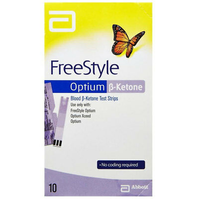 * Freestyle Optium Blood ß Ketone 10 Test Strips No Coding Required Neo Libre