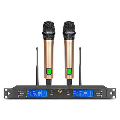 UHF 200 Channel LED PROFESSIONAL WIRELESS Microphone System 2 CORDLESS MIC Stage