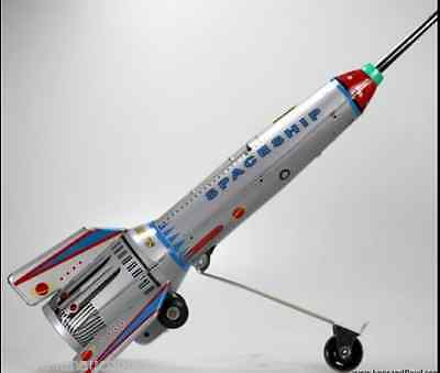 Tin Toy Space Rocket  With Lift Action  Clockwork