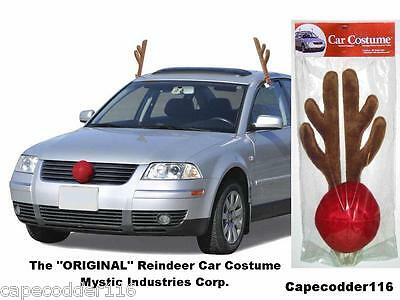 NEW RUDOLPH REINDEER ANTLERS & NOSE CAR TRUCK COSTUME for ALL VEHICLES CHRISTMAS