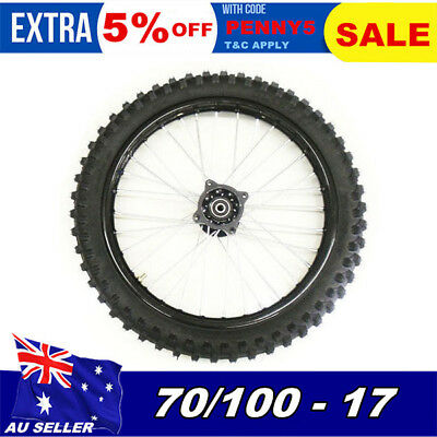 "70/100 - 17"" Inch Knobby Tire & Rim Front wheels BIGFOOT Dirt Pit Trail Pro Bike"