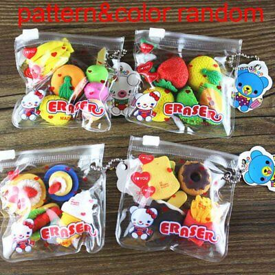 1Bag 4pcs Cute Kawaii Lovely Fruit Food Rubber Pencil Eraser Kid Stationery Gift