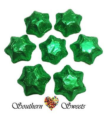 1Kg Green Foiled Stars Milk Chocolate Candy Buffet Green  Lollies Christmas Star