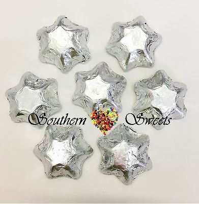 1Kg Silver Foiled Stars Milk Chocolate Xmas Christmas Stars Silver Lollies