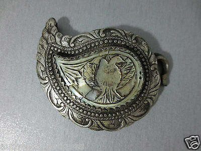 TOP PRICE!GORGEOUS ANTIQUE OTTOMAN Silver Alloy+Mother-of-pearl BELT BUCKLE-Half