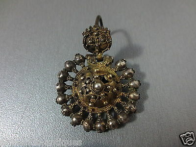 Gorgeous Antique Ottoman Silver+Gilded Gold-plated Earring ORIGINAL 19th Century