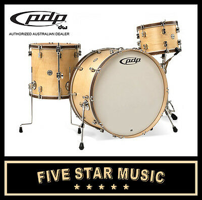 Dw Pdp Concept Maple Classic 3 Piece Shell Pack Drum Kit Natural Wood Hoops  New