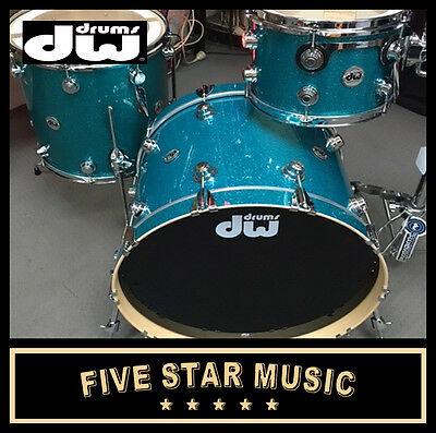 Dw Drums Collectors Series 3 Piece Shell Drum Kit Pack Teal Glass - New