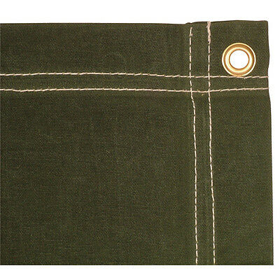 Olive Drab Green Heavyweight Canvas Tarp - Water Repellent/Stitched/6' x 8'