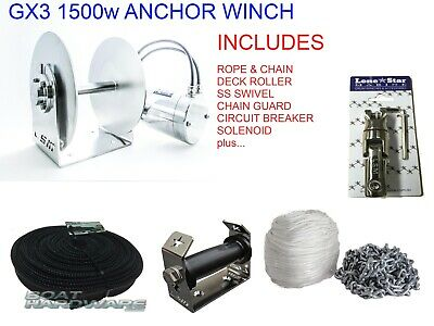 GX3 Lone Star Anchor Winch COMBO KIT 1500W Electric 300mm Drum up to 9mtr Boats