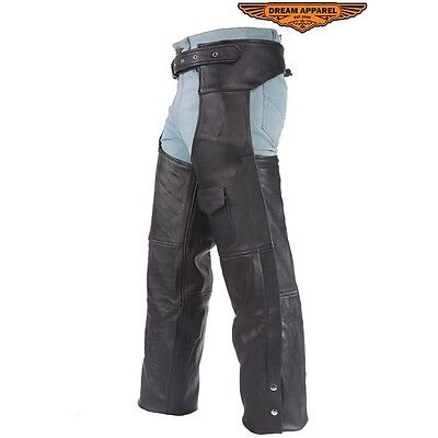 Mens Motorcycle Bikers Black Leather Chaps With One Pocket Size S