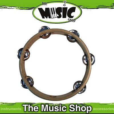 "New Mano Percussion 8"" Wooden Tambourine with Nickel Silver Jingles - TMP41"