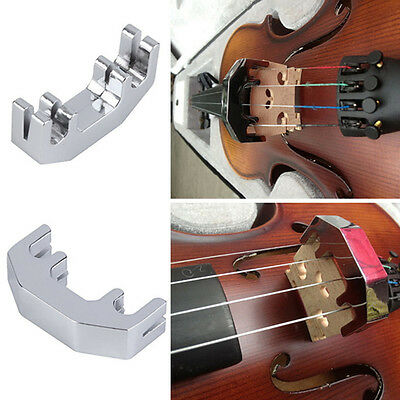 Professional Violin Practice Mute Metal Silver Fiddle Silent Silencer New