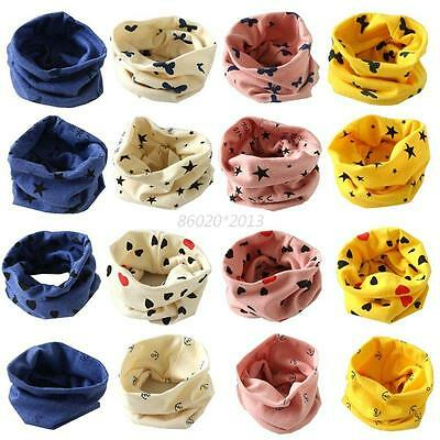 Kids Baby Girls Boys Cotton Snood Scarf Scarves Neckerchief Star Heart Print New
