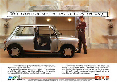 MINI AUSTIN MORRIS RITZ EDITION RETRO A3 POSTER PRINT FROM CLASSIC 80's ADVERT