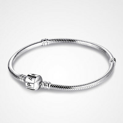 925 Sterling Silver Pandora Charm Bracelet with Lock Snake Chain Jewelry Gift