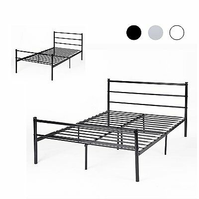 Metal Bed Frame 3ft 4ft6 Single Double Black White Silver Bedstead Modern