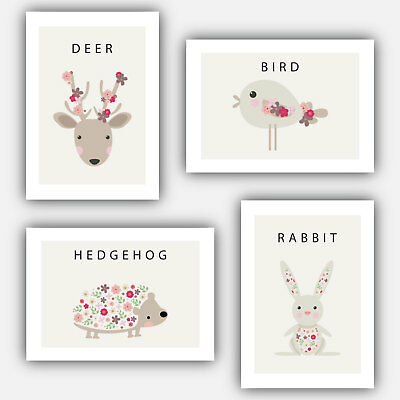 SET of 4 SPRING FOREST ANIMALS Nursery New Baby Decor picture prints 3 sizes